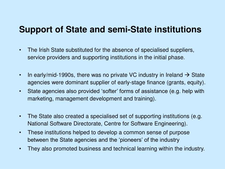 Support of State and semi-State institutions