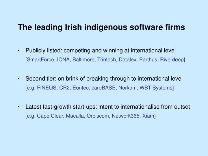 The leading Irish indigenous software firms