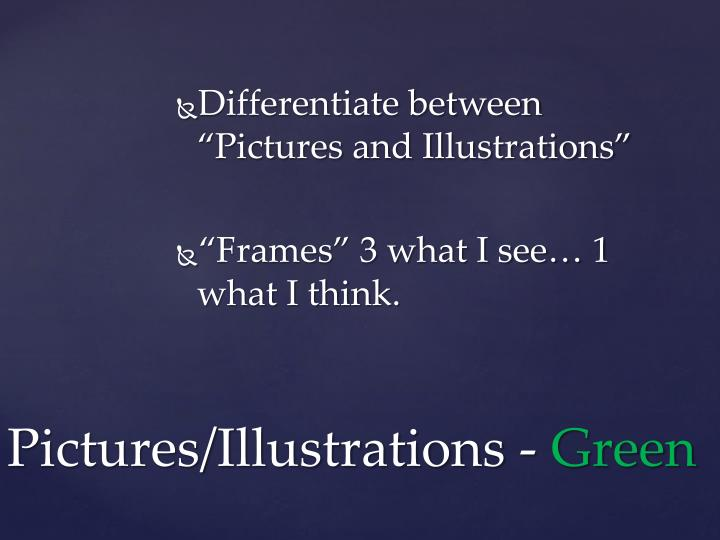 "Differentiate between ""Pictures and Illustrations"""