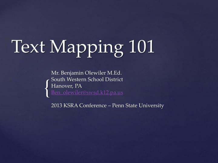 Text mapping 101