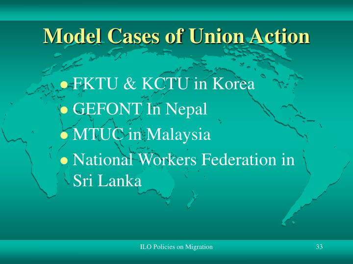 Model Cases of Union Action