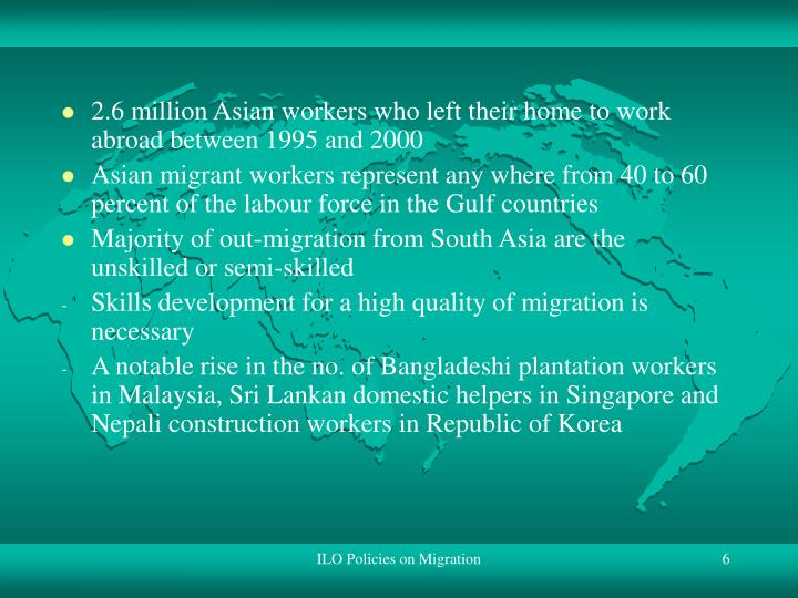 2.6 million Asian workers who left their home to work abroad between 1995 and 2000
