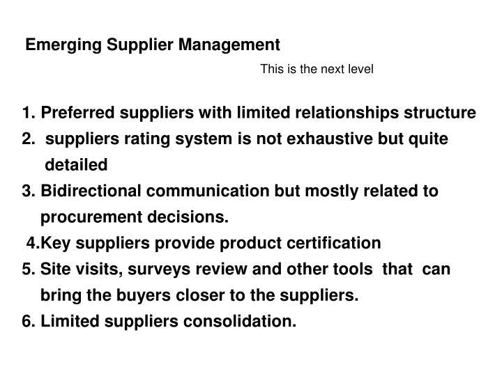 Emerging Supplier Management
