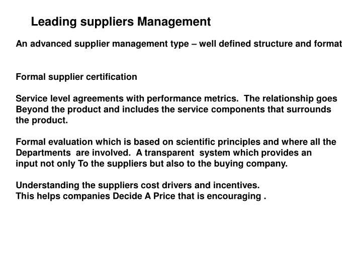 Leading suppliers Management