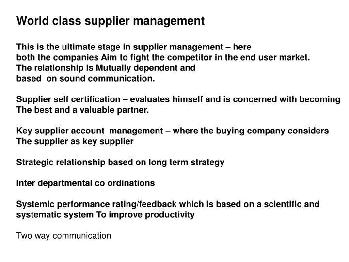 World class supplier management