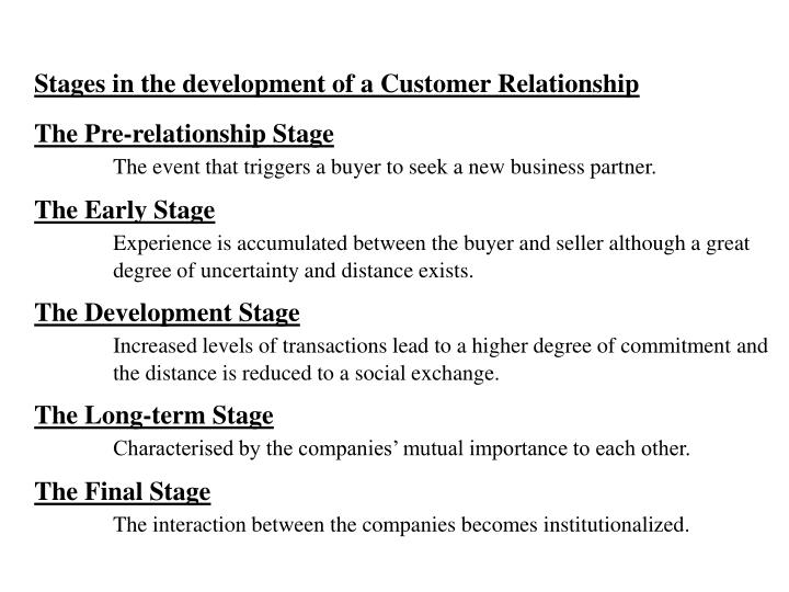 Stages in the development of a Customer Relationship