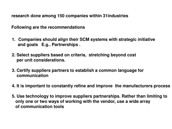 research done among 150 companies within 31industries