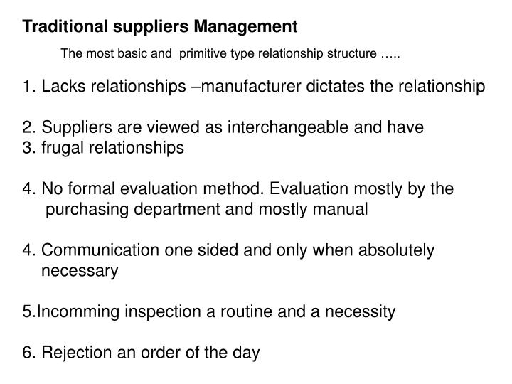Traditional suppliers Management