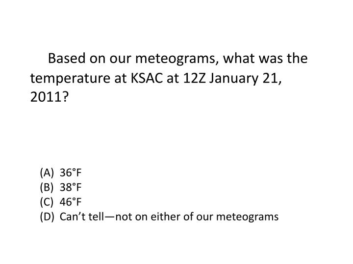 Based on our meteograms what was the temperature at ksac at 12z january 21 2011