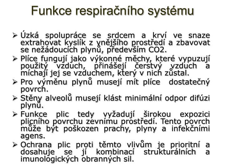 Funkce respiračního systému