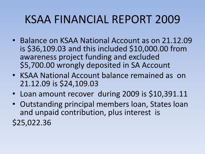 KSAA FINANCIAL REPORT 2009