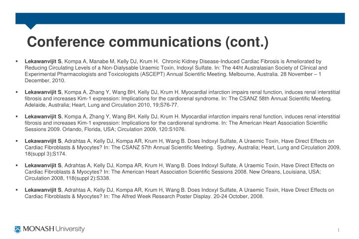 Conference communications (cont.)