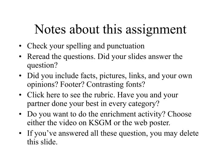 Notes about this assignment