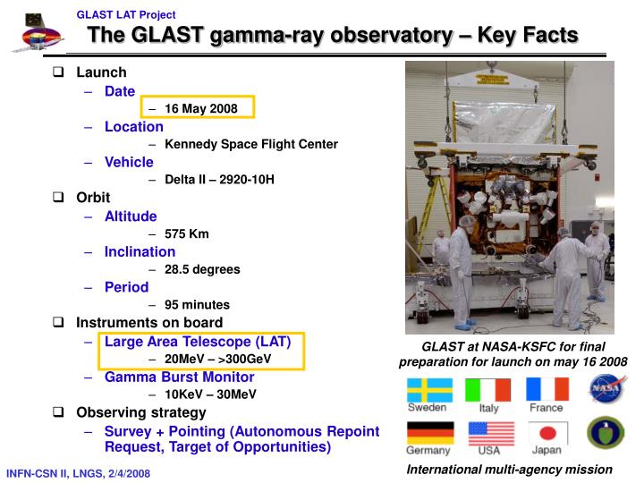 The glast gamma ray observatory key facts