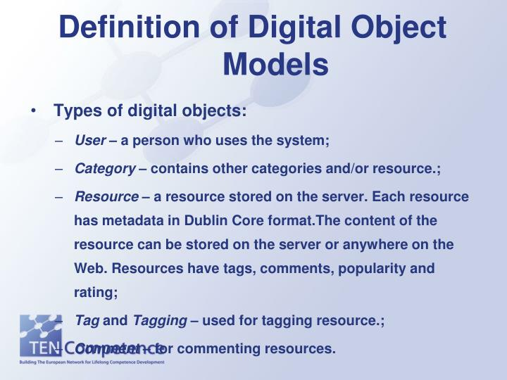 Definition of Digital Object Models