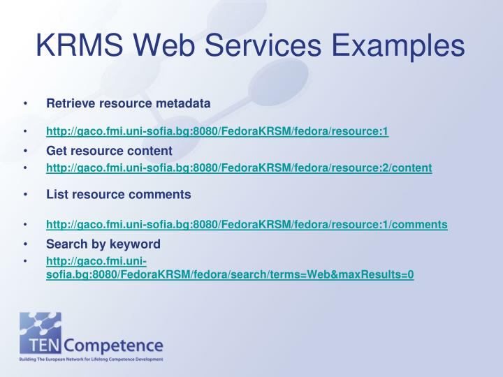 KRMS Web Services Examples