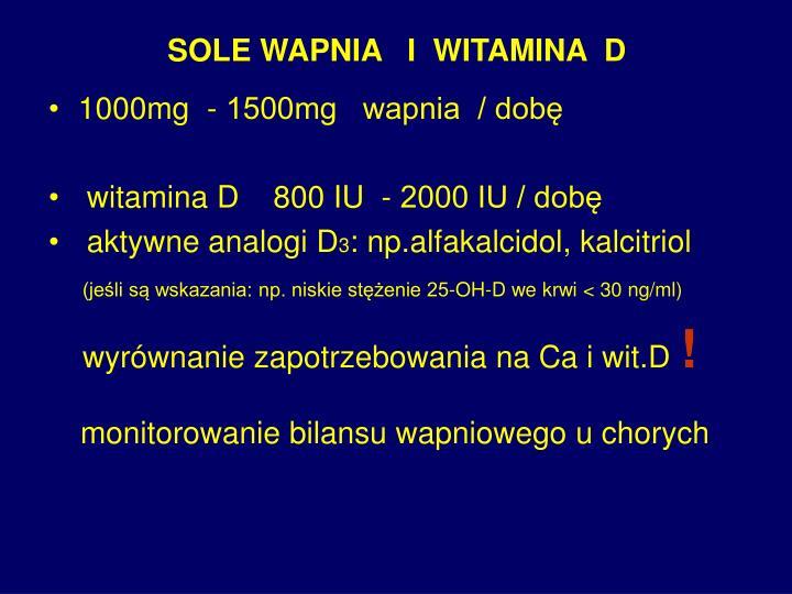 SOLE WAPNIA   I  WITAMINA  D