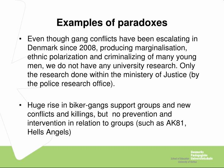 Examples of paradoxes