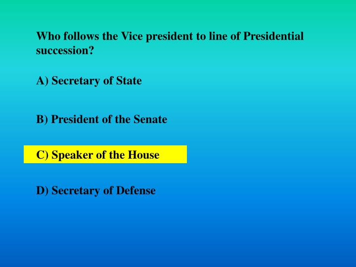 Who follows the Vice president to line of Presidential succession?