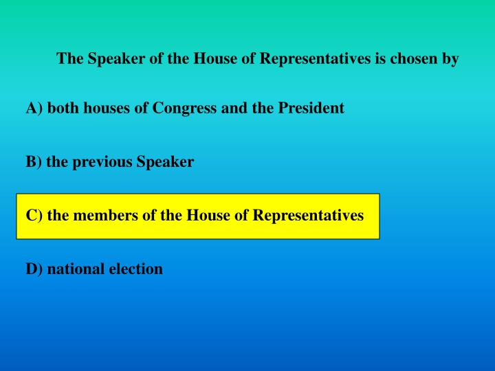 The Speaker of the House of Representatives is chosen by