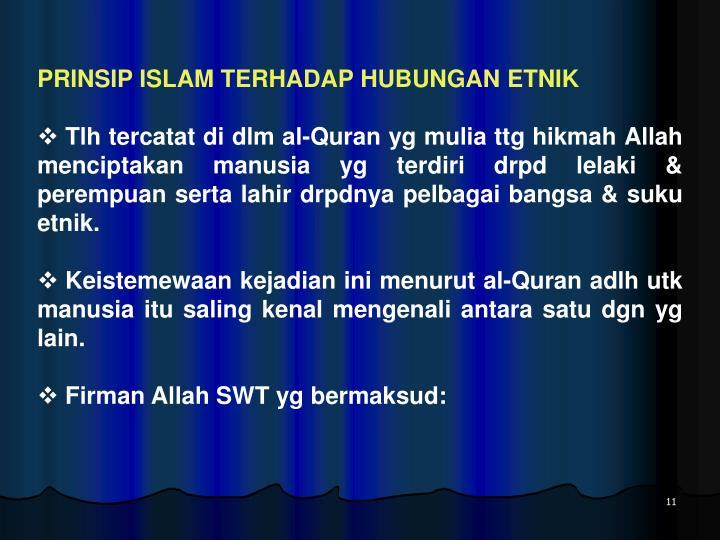 PRINSIP ISLAM TERHADAP HUBUNGAN ETNIK