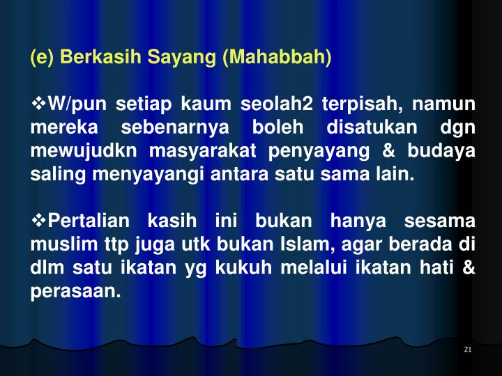 (e) Berkasih Sayang (Mahabbah)