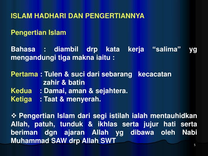 ISLAM HADHARI DAN PENGERTIANNYA