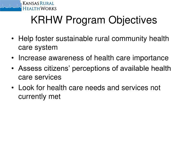 KRHW Program Objectives