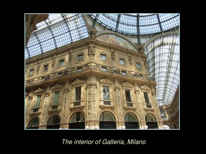 The interior of Galleria, Milano