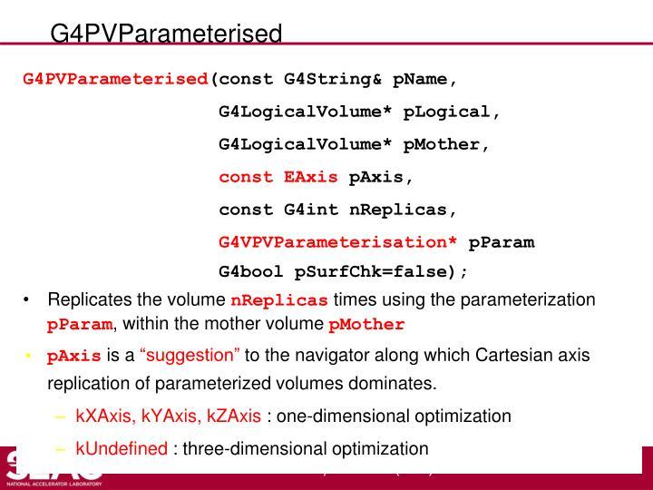 G4PVParameterised
