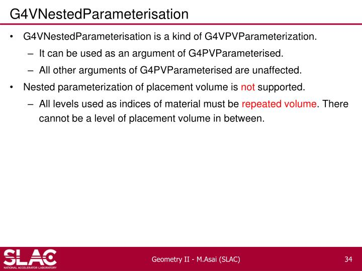 G4VNestedParameterisation