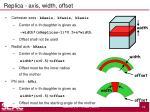 replica axis width offset