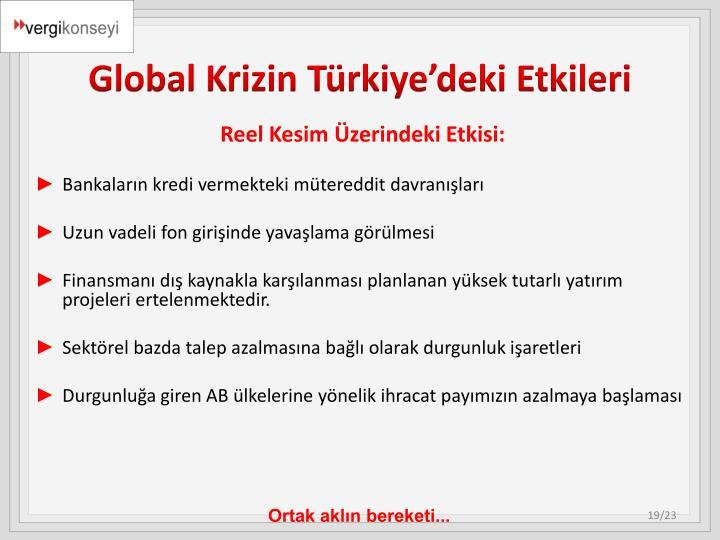 Global Krizin Türkiye'deki Etkileri