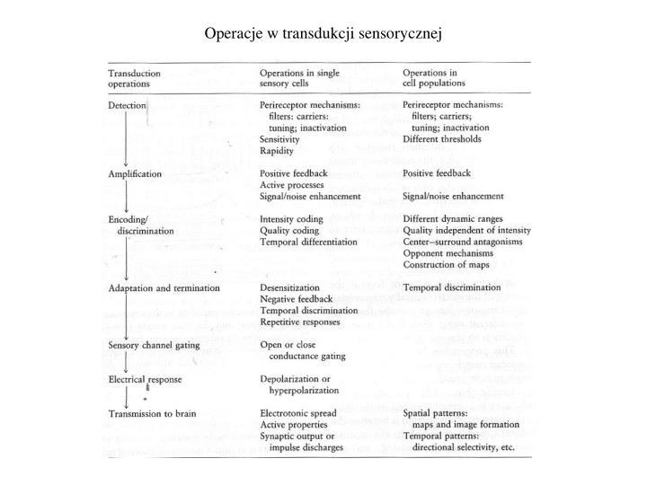 Operacje w transdukcji sensorycznej