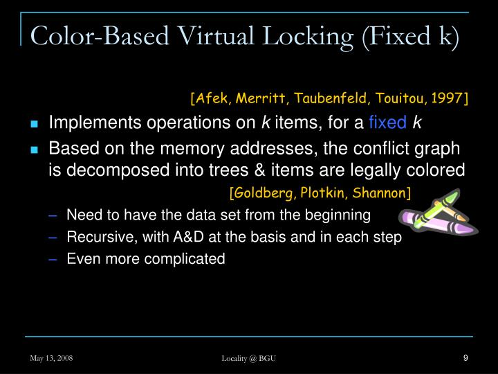Color-Based Virtual Locking (Fixed k)