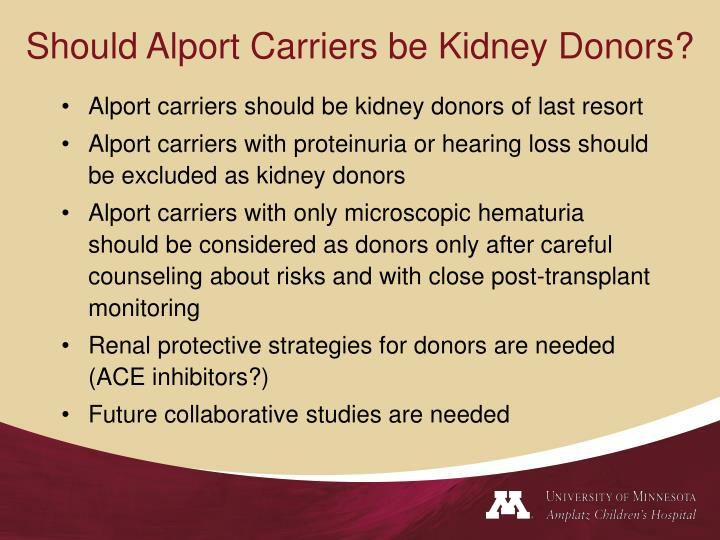 Should Alport Carriers be Kidney Donors?