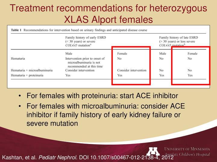 Treatment recommendations for heterozygous XLAS Alport females
