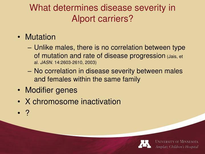 What determines disease severity in