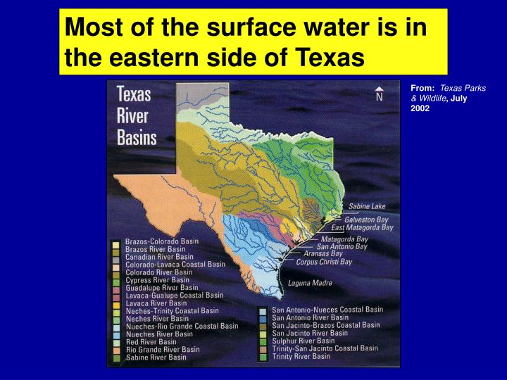 Most of the surface water is in the eastern side of Texas