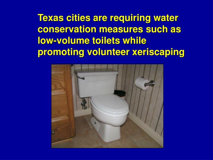 Texas cities are requiring water conservation measures such as low-volume toilets while promoting volunteer xeriscaping