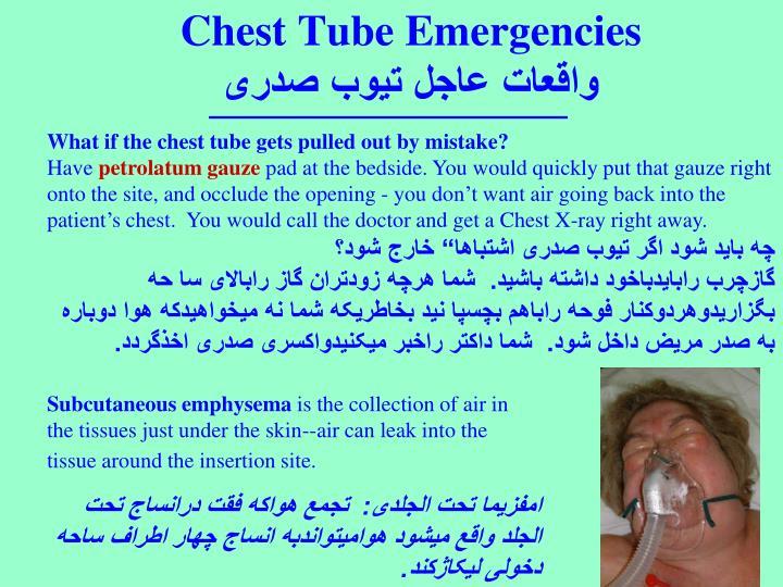 Chest Tube Emergencies