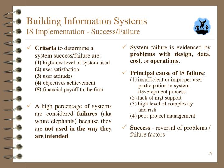 System failure is evidenced by