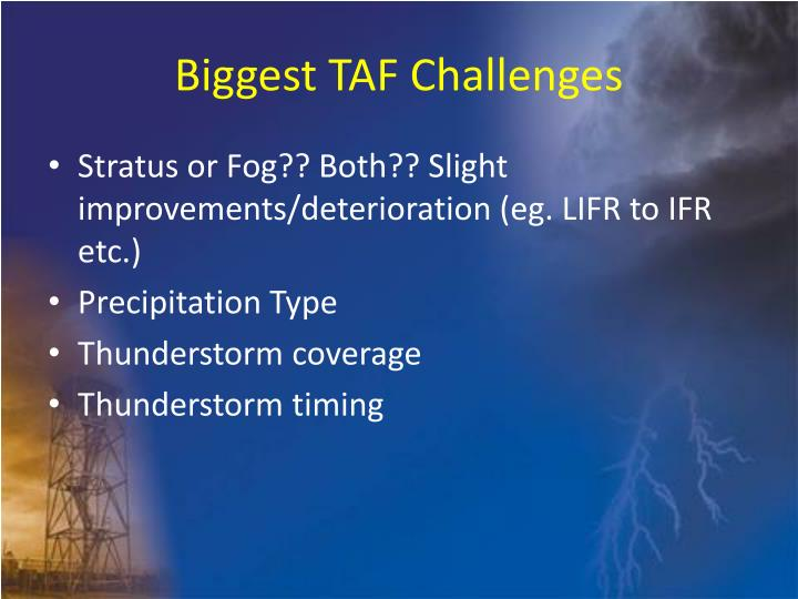 Biggest TAF Challenges