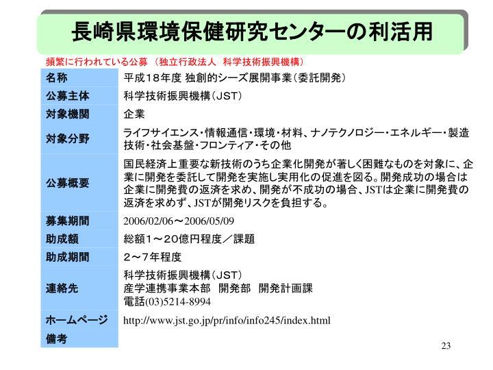 長崎県環境保健研究センターの利活用