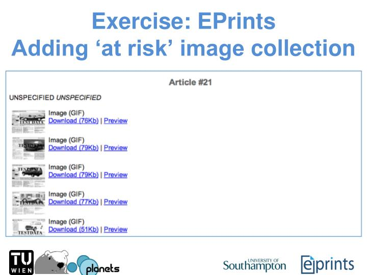 Exercise: EPrints