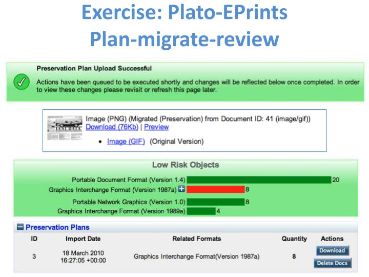 Exercise: Plato-EPrints