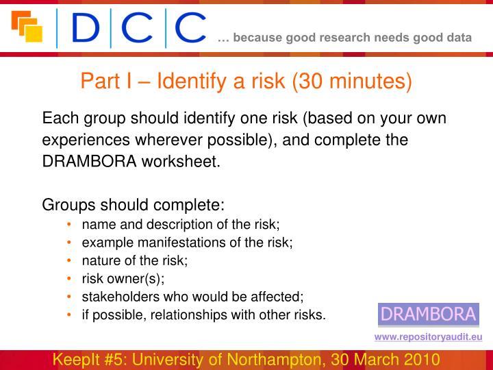 Part I – Identify a risk (30 minutes)