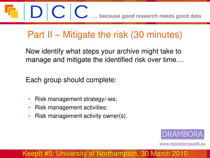 Part II – Mitigate the risk (30 minutes)