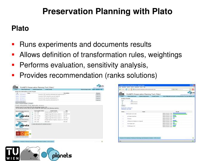 Preservation Planning with Plato