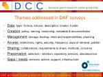 themes addressed in daf surveys